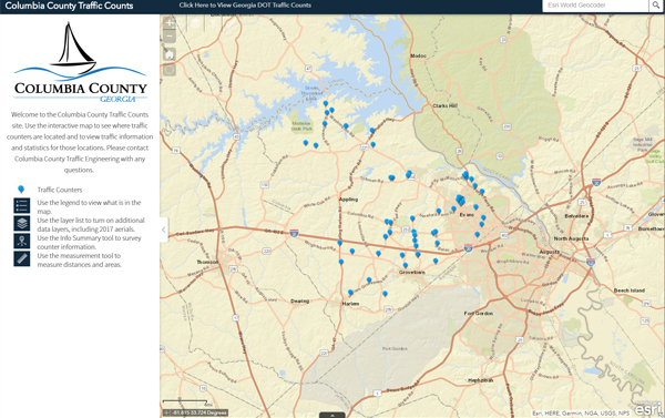 columbia county traffic counts web app screenshot