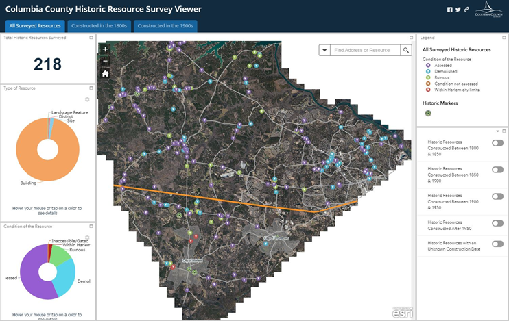 historic resource survey viewer web app screenshot
